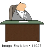 #14927 Caucasian Business Man Seated At A Desk Clipart