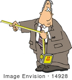 #14928 Caucasian Business Man Using A Tape Measure Clipart