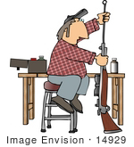 #14929 Middle Aged Caucasian Man Cleaning A Rifle Clipart
