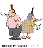 #14930 Man And Woman Partying With Party Hats And Blowers Clipart