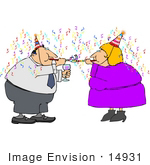 #14931 Couple Celebrating at a New Years Party Clipart by DJArt