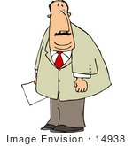 #14938 Busines Man Holding A Paper Clipart