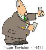 #14941 Caucasian Business Man Holding Money In His Hands Clipart