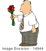 #14944 Middle Aged Caucasian Man With Red Roses Clipart