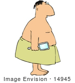 #14945 Chubby Caucasian Man In A Towel Clipart