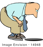 #14948 Middle Aged Caucasian Man Looking Down A Man Hole Clipart