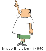 #14950 Caucasian Man Pointing Up Clipart by DJArt