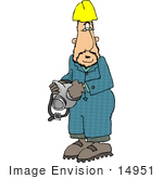 #14951 Worke Man in a Hardhat, Holding a Respirator Clipart by DJArt