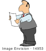 #14953 Business Man Holding A Blank Piece Of Paper Clipart
