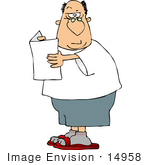#14958 Man Holding A Paper Clipart