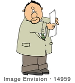 #14959 Caucasian Man Reading A Paper Clipart