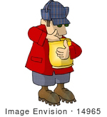 #14965 Man Eating Chips Clipart