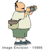 #14966 Middle Aged Caucasian Photographer Man Taking Pictures Clipart