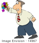 #14967 Caucasian Man Apologizing With A Bouquet Of Flowers Clipart