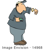 #14968 Man With A Pager Clipart