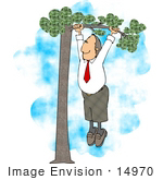 #14970 Business Man Out On A Limb Hanging From A Tree Clipart