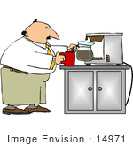 #14971 Man Pouring A Cup Of Coffee Clipart