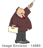 #14980 Man Pointing Upwards And Holding A Paper Clipart
