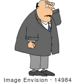 #14984 Puzzled And Confused Business Man Scratching His Head Clipart