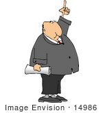 #14986 Caucasian Business Man Pointing Up Clipart
