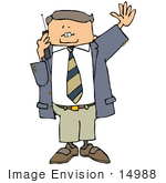 #14988 Business Man Chatting On A Cell Phone Clipart