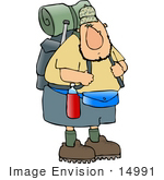 #14991 Hiker Man With Camping Gear Clipart by DJArt