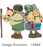 #14994 Two Male Hikers With Camping Gear Clipart