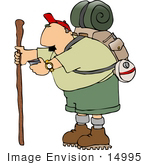 #14995 Middle Aged Hiker Man With Camping Gear And Stick Clipart