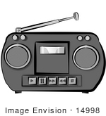 #14998 Gray Radio With A Tape Player Clipart
