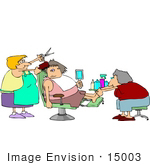 #15003 Woman Getting A Haircut And Pedicure At A Spa Clipart