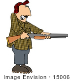 #15006 Middle Aged Caucasian Man Holding A Rifle Clipart