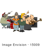 #15009 Guitarists Vocalist And Drummer In A Rock Band Clipart by DJArt
