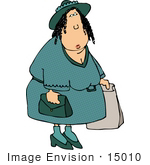#15010 Caucasian Woman Shopping Clipart
