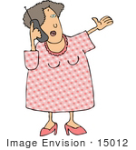 #15012 Middle Aged Caucasian Woman Talking On A Cell Phone Clipart