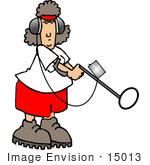 #15013 Caucasian Woman Using A Metal Detector Clipart