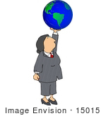 #15015 Business Woman Holding The World Clipart