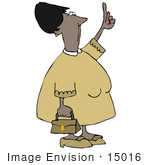 #15016 African American Woman Pointing Up Clipart