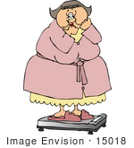 #15018 Shocked Overweight Woman On A Scale Clipart