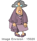 #15020 Old Caucasian Woman in Purple Clothing Clipart by DJArt