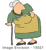 #15021 Senior Woman With A Cane And A Sore Back Clipart