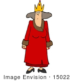 #15022 Queen In A Crown And Red Robe Clipart