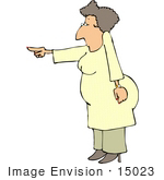 #15023 Stern Woman Pointing Clipart