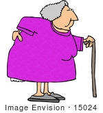 #15024 Old Woman With A Sore Back Using A Cane Clipart