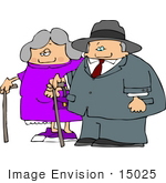 #15025 Senior Couple Walking With Canes Clipart