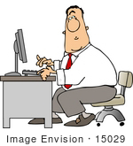 #15029 Caucasian Business Man Typing On A Computer At A Desk Clipart