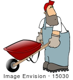#15030 Man Pushing A Wheel Barrow Clipart