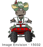 #15032 Moose Riding An Atv Clipart
