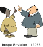 #15033 Caucasian Man And African American Woman In Argument Clipart
