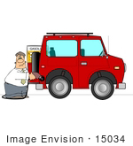 #15034 Man Pumping Gas Into His Suv Clipart
