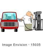 #15035 Man And Wife At A Gas Station The Man Pumping Gas Clipart